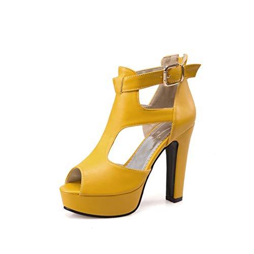 GLOPY& Woman Gladiator Shoes High Heel Sandals Spring Summer Peep Toe T-Strap Platform Spike Heels Zip Yellow Size 12 46 Yellow 13
