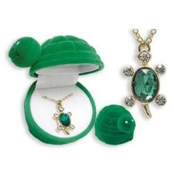 Price comparison product image Turtle Crystal Necklace With Velour Hinged Gift Box