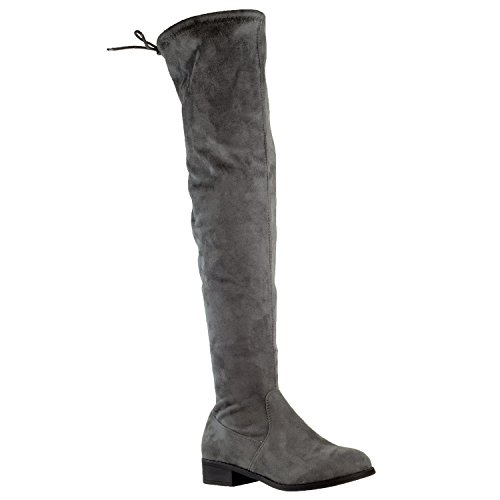 - Generation Y Womens Knee High Boots Lace Up Block Heel Over The Knee Riding Boots Faux Suede Gray SZ 7.5