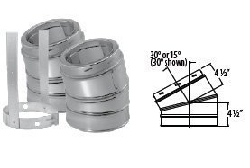 DuraVent 9664GAKIT 15 Degree Elbow Kit Galvanized (Incl 2 Elbows and 1 Elbow Str
