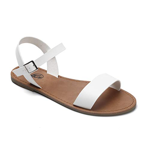 (Trary Soft Faux Leather Open Toe Ankle Strap Buckle Sandals for Women White 085)