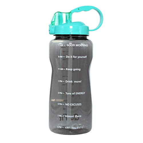 Motivational Gallon Water Bottle 64OZ/128OZ with Unique Timeline/Measurements/Goal Marked Times for Measuring Your Daily Water Intake, Large BPA Free Non-Toxic Water Jug (64OZ, 64OZ-gray+green lid)