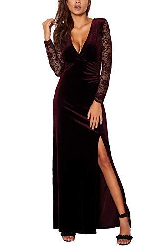 Meenew Women's V Neck Velvet Bodycon Maxi Evening Dress Side Slit Ruby L