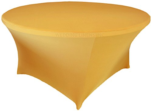 Wedding Linens Inc. Wholesale (200 GSM) 5 FT (60 in) Round Spandex Stretch Fitted Table Cover Tablecloths Gold