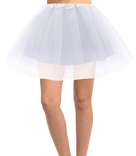 Jasmine Women's 4-Layer Satin-Lined Tulle Costume, Dance, Running Tutu,White -