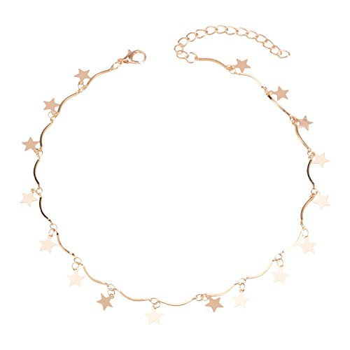 Manerson Lucky Star Choker Necklace Pendant Disc Chain Statement Necklace Gold