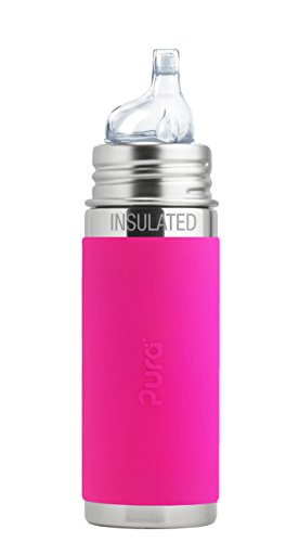 Pura Kiki 9 Oz / 260 Ml Stainless Steel Insulated Sippy Cup With Silicone Xl Sipper Spout & Sleeve, Pink (plastic Free, Nontoxic Certified, Bpa Free)