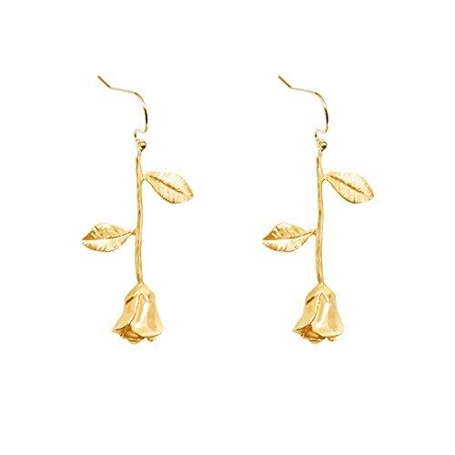 Romantic Rose Flower Dangle Hook Earrings for Women and Girl