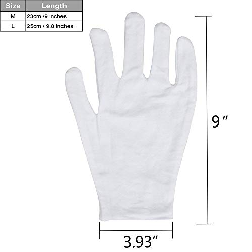 20 Pack White Cotton Gloves 9 8 L Work Gloves Cosmetic