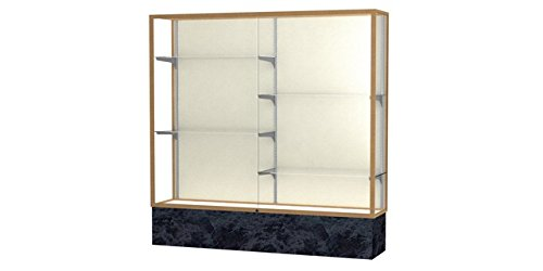 (Monarch Series Floor Display Case Frame Color: Champagne Gold, Base Color: Silver Swirl, Case Backing: Plaque Fabric)