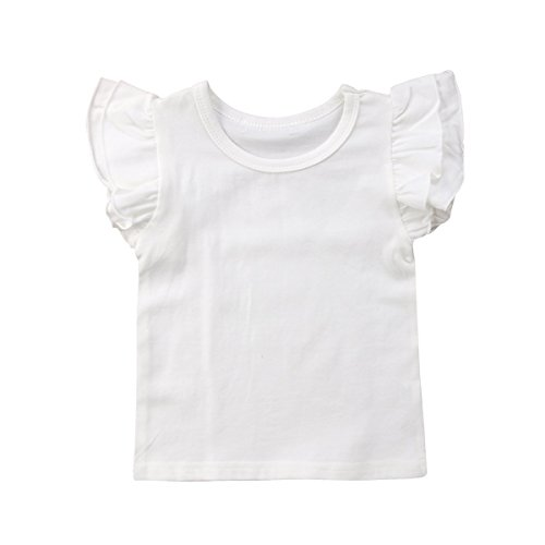 Infant Toddler Baby Girl Top Basic Plain Ruffle T-Shirt Blouse Casual Clothes (1-2 Years, White)