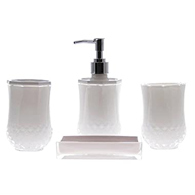 JustNile 4 Piece Elegant, Luxurious, Translucent White Bathroom Accessory Set; includes Tumbler, Toothbrush Holder, Lotion Dispenser and Soap Dish, Made with Durable Acrylic