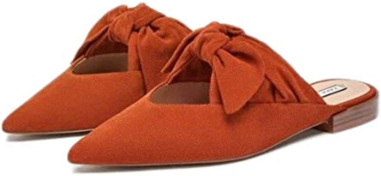 61b641fc5ab1 Zara Womens Shoes Sz US 7.5 Euro 38 Mules Bow Detail Orange NWT Ref 3534