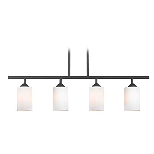 Modern Island Light with White Glass in Matte Black Finish