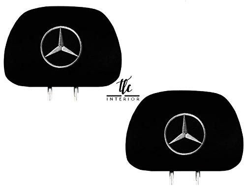 Ltluxury Universal Mercedes Benz Embroidered Black Gray Fabric Headrest Cover Set of - Seat Fabric 2