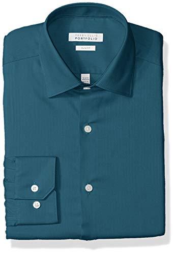 Perry Ellis Men's Slim Fit Wrinkle Free Dress Shirt, Teal, 16 (Wrinkle Free Mens Shorts)