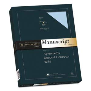 Southworth Co 25% Cotton Manuscript Covers, Blue, 30 lbs, Wove, 9 x 12-1/2, 100/Box (9 Boxes)