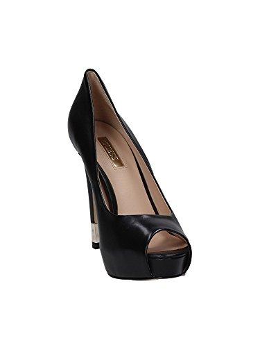 Guess escisión Mujer Zapatos Hadie4 Open Toe Lether tacón 12 Pl 3 Black Negro