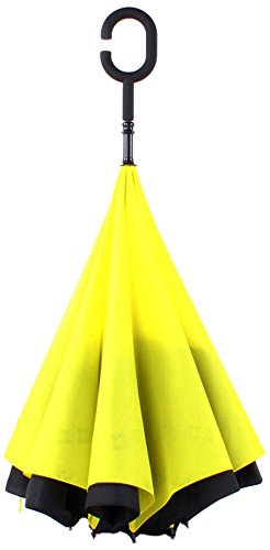 Double Layer Inverted Umbrellas Reverse折り畳み傘防風Bigストレート傘車の雨アウトドアC型のハンドル  U05 B071GQ9HWR