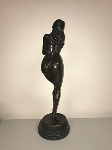 sexy art for bathroom - SEXY GIRL - PUSHING BREASTS UP - POPPING OUT - FULLY NAKED - BRONZE NAKED STATUE - VERY DETAILED - MARBLE BASE - bronze sculpture/statue (Brass Marble Sculpture Statues)