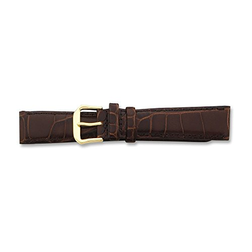 14mm Brn Croc Dark Stitch Gld-tone Buckle Watch Band ()