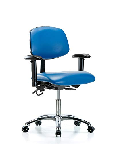 LabTech Seating LT41180 ESD Vinyl Desk Height Chair Chrome Base, Tilt, Arms, ESD Casters Blue