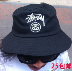 b713e14481b3e HAN Europe and the tide brand Stussy embroidered black casual flat ...