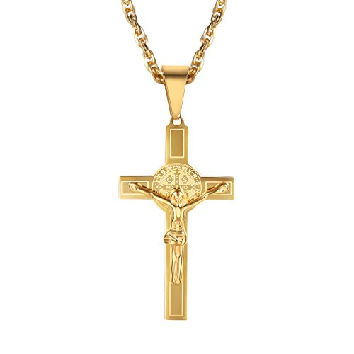 18K Gold Plated Jesus Cross Pendant Necklace Crucifix Cross Religious Necklace Christians Catholic 2018 New Men Women Hip Hop Jewelry,PSP2951J -