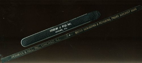 1930s Metal - Hohman & Hill Motor Rewinding Chicago IL advertising metal ruler in case 1930s