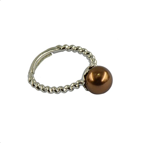 Dovewill Elegant Flower Pattern Freshwater Shell Pearl Adjustable Wedding Finger Ring - Coco (Brown Pattern Ring)