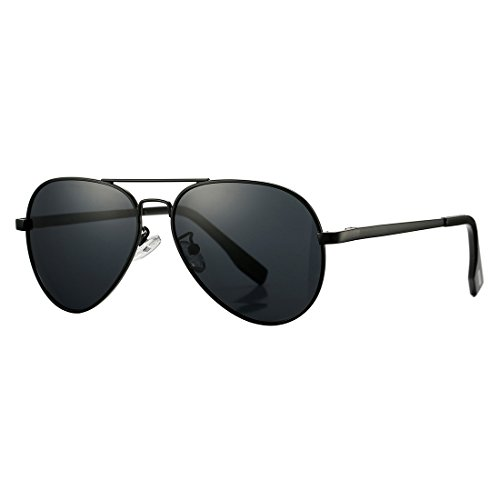 Polarized Aviator Sunglasses for Juniors Small Face Women Men Vintage UV400 Protection Shades(Black Frame/Black Lens) (Quay Shades)