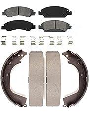 Front Rear Semi-Matllic Brake Pad And Drum Shoes Kit For Chevrolet Silverado 1500 GMC Sierra
