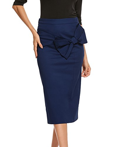 Zeagoo Women Pencil Bow Skirt Calf Length Solid High Waist Zipper Skirt, Navy Blue, XX-Large