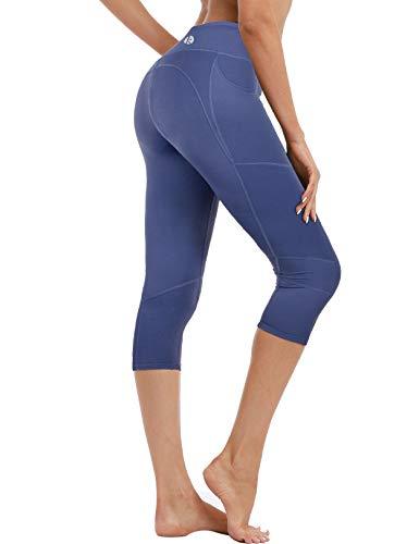 coastal rose Women's Yoga Pants 3/4 Workout Leggings Crop Sports Tights Twilight Blue -