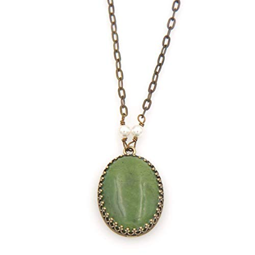 Oval Serpentine(Green Jade) Gemstone Pendant Necklace - Brass Flat Link Chain, 1.25 & 17-in