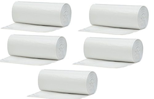 Muscle Bag 10 Gallon Durable Wastebasket Liners, 5 Rolls of 25 Each, Total of 125 Bags - Made from Super Hexene Low Density High Performance Plastic, 24in Width x 23in Length
