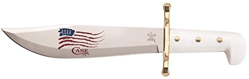 Case 03055 Bowie SS White Synthetic Handle with Blade Artwork