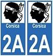Autocollant plaque immatriculation auto département 2A Corse du Sud