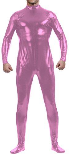 Marvoll Shiny Metallic Zip Back Unitard Bodysuit for Kids and Adults (Kids Medium, Pink) (Superman Leotard)
