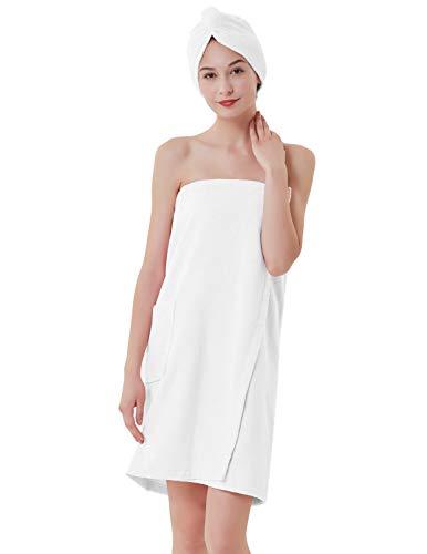 Zexxxy Women's Organic Turkish Cotton Adjustable Closure Spa Shower and Bath Wrap White L ()