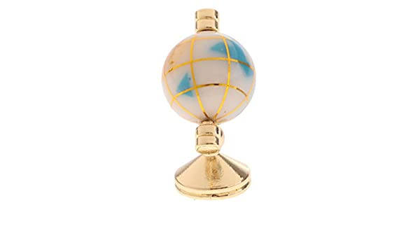 1:12 DollHouse Miniature Decor White Geographic Globe With Golden Stand