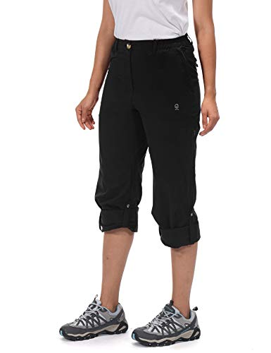 Little Donkey Andy Women's UPF 50+ UV Protection Cargo Pants, Moisture Wicking Hiking Pants, Lightweight and Breathable Black M