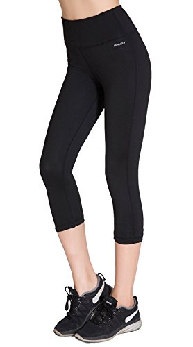 Aenlley Womens Activewear Yoga Pants High Rise Workout Gym Spandex Tights Capris Color Black Size XS