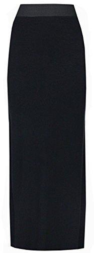 New Últimas Señoras Mujeres Plus Size Jersey largo Maxi falda gitana elástico vestido negro