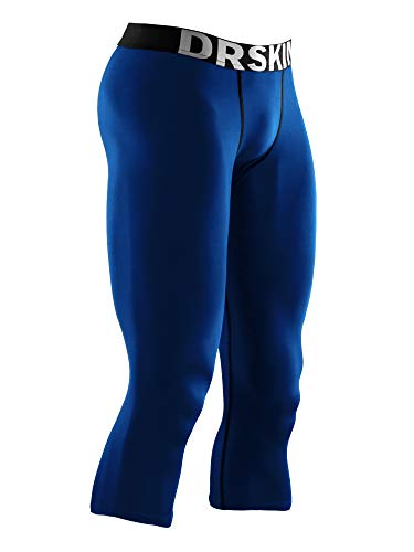 DRSKIN Mens 3/4 Compression Tight Pants Base Under Layer Running Shorts Warm Cool Dry (Line BU805, M)