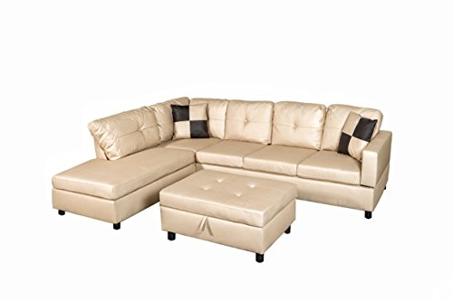 Legend D1904A-RSLCH Right-Facing Faux Leather Sectional Sofa Set with Free Storage Ottoman, Vanilla