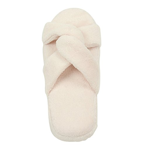 Spa Slippers Slip House Slipper Warm Thong Wrap Womens Pink cross Fleece Non Home Indoor Coral zTY8YnP