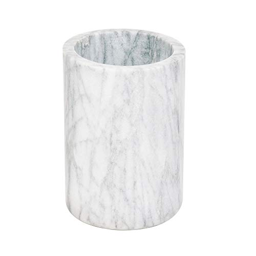 Marble Wine Cooler/Champagne Chiller, Natural White Marble, 6 x 4-Inch Elegant Wine Bottle Chiller - Marble Utensil Holder by Tezzorio ()
