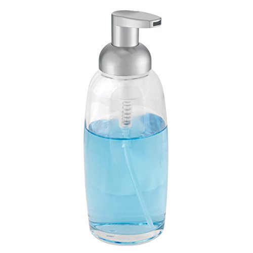 mDesign Foaming Soap Glass Dispenser Pump Bottle for Bathroom Vanities or Kitchen Sink, Countertops - Clear/Matte Silver Soap 12 Ounce Bottle