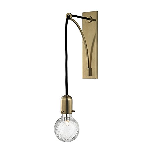 Marlow 1-Light Wall Sconce - Aged Brass Finish with Hand-Cut Lattice Glass (Marlow Cord)